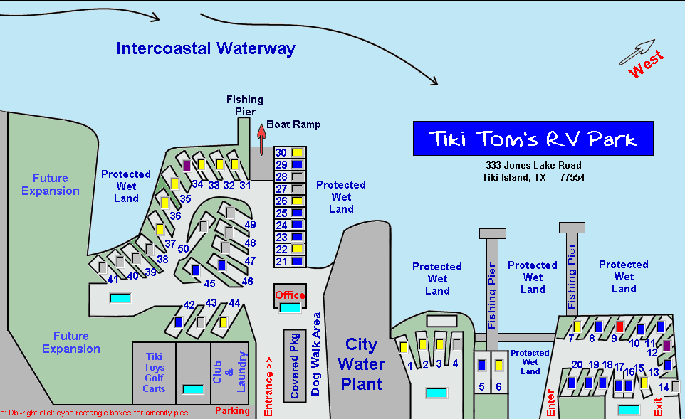 Tiki Toms RV Park  Galveston TX